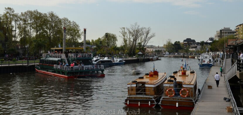 Boats on the river in Tigre Delta, Buenos Aires