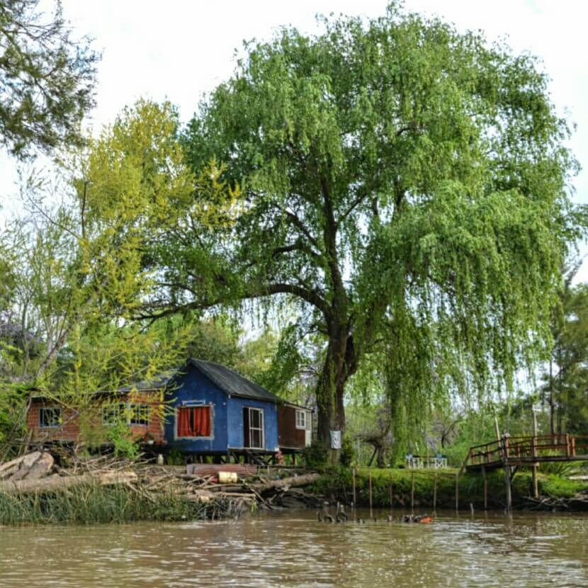 Blue house by the river in Tigre, Buenos Aires